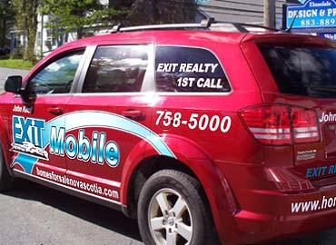 Custom vehicle graphics for Exit Realty, Vehicle Graphics, Printed Decals, Cut Decals, Decals, Vinyl Decals, Window Vinyl, Window Graphics, License Plates, Vehicles Signs, Trailer Graphics, Boat Registration Numbers, Door Magnets, Truck Graphics, Fleet Graphics, Window Cling, Truck Box Signs