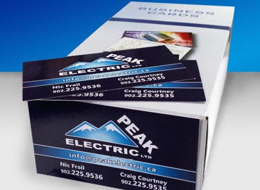 Peak Electric business cards with UV gloss coating. UV Coated Business Cards, Glossy Gloss, Business Cards, Business Cards, Magnetic Business Cards, Rack Cards, Invitations, Hand Outs, Brochures, Folded Brochures, Flyers, Pamphlets, Notepads, Note Pads, Letterhead